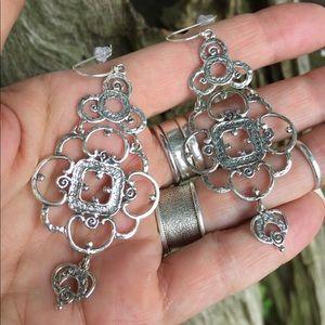 Sterling silver chandelier boho earrings